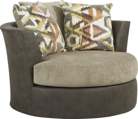 Larna Park Taupe Swivel Chair