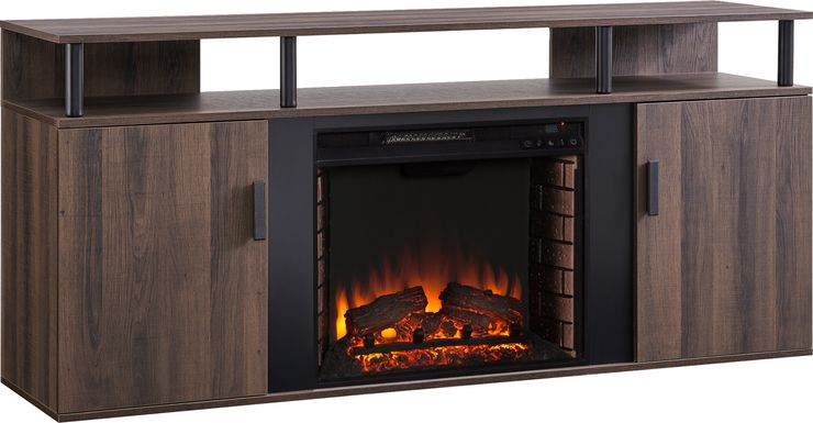 Latchwood I Brown 63 in. Console With Electric Log Fireplace