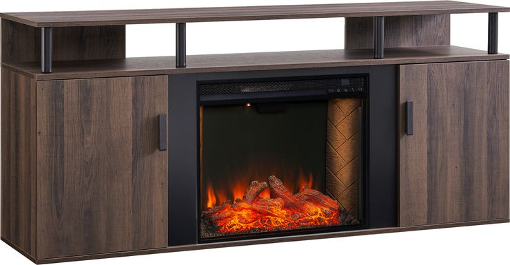 Latchwood III Brown 63 in. Console With Smart Electric Fireplace