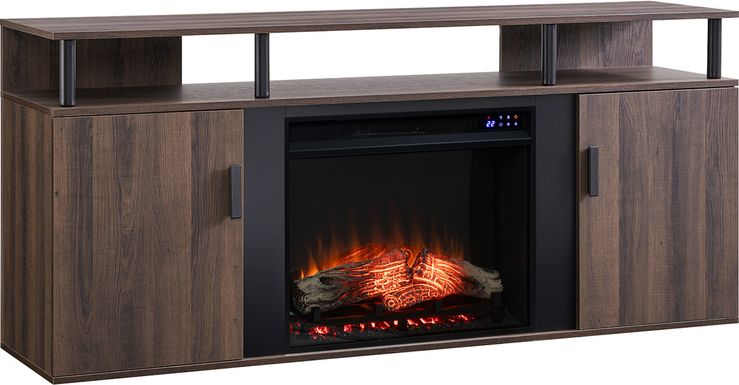 Latchwood IV Brown 63 in. Console With Electric Fireplace