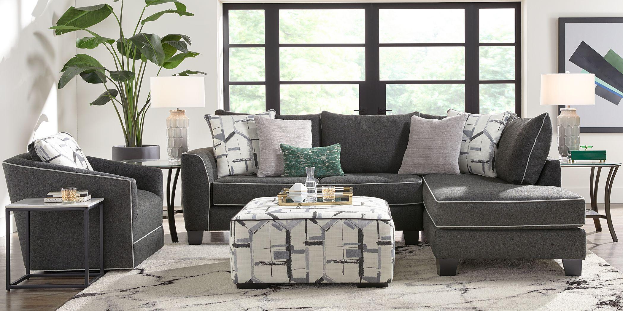 Lawson Landing Black 3 Pc Sectional Living Room