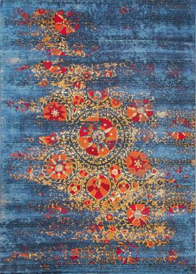 Laylah Blue 6'6 x 9'4 Indoor/Outdoor Rug