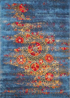 Laylah Blue 7'10 x 9'10 Indoor/Outdoor Rug