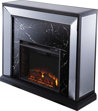 Levering II Black 44 in. Console, With Electric Log Fireplace