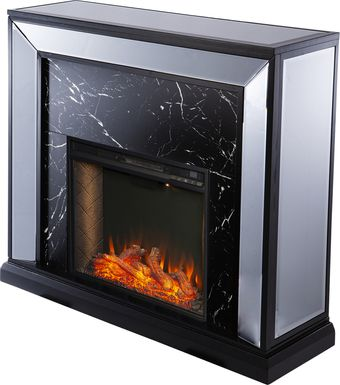 Levering III Black 44 in. Console, With Smart Electric Fireplace