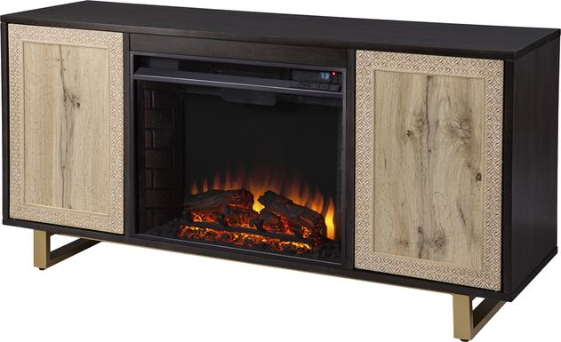 Linherk II Brown 54 in. Console, With Electric Log Fireplace
