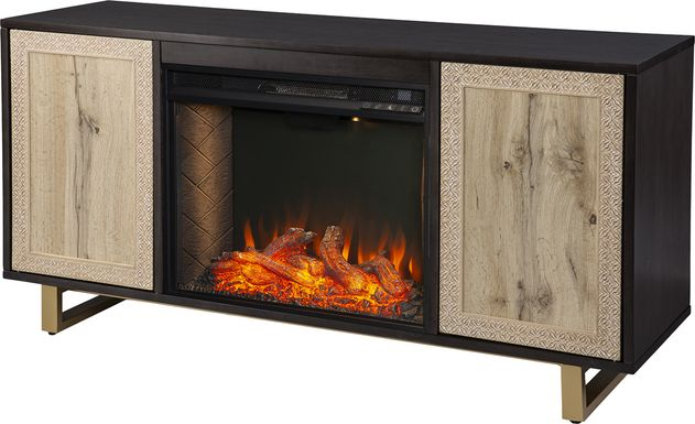 Linherk III Brown 54 in. Console, With Smart Electric Fireplace