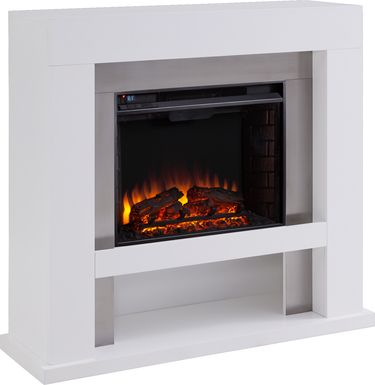 Linkmeadow I White 44 in. Console With Electric Log Fireplace