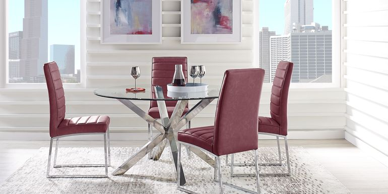 Linton Park Silver 5 Pc Round Dining Set with Bordeaux Chairs