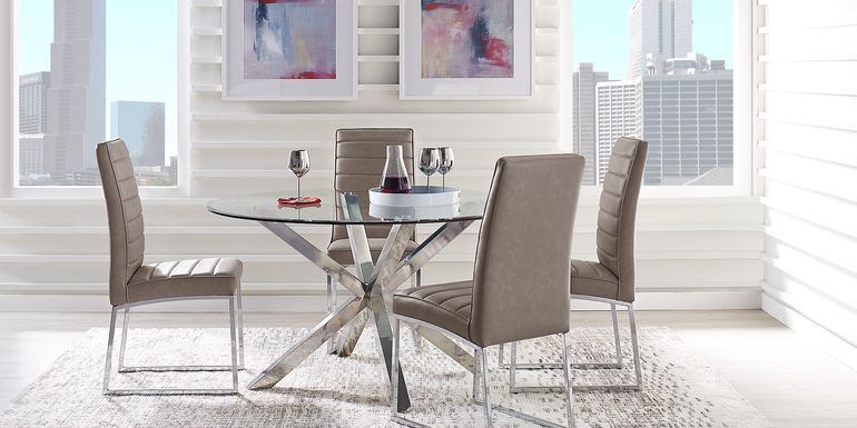 Linton Park Silver 5 Pc Dining Set with Gray Chairs