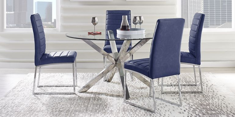 Linton Park Silver 5 Pc Dining Set with Midnight Chairs