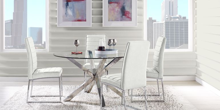 Linton Park Silver 5 Pc Dining Set with Off-White Chairs