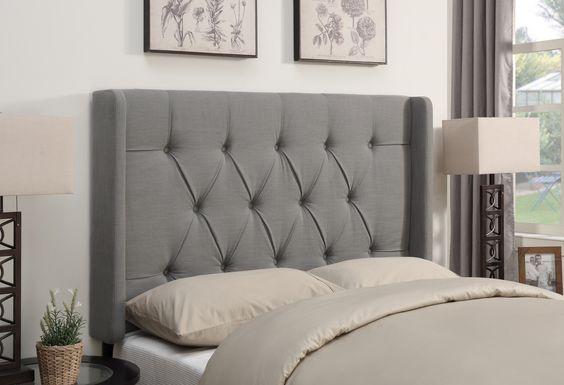 Livia Dove Gray King Upholstered Headboard