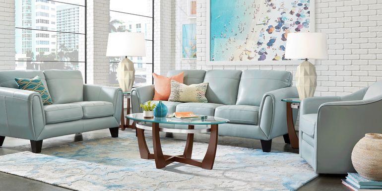 Livorno Lane Aqua Leather 3 Pc Living Room
