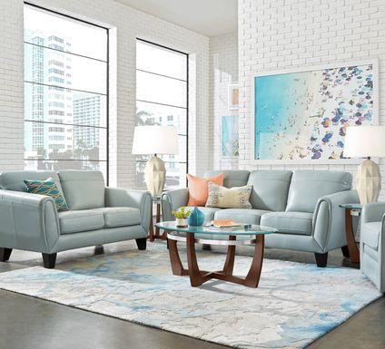 Livorno Lane Aqua Leather 5 Pc Living Room