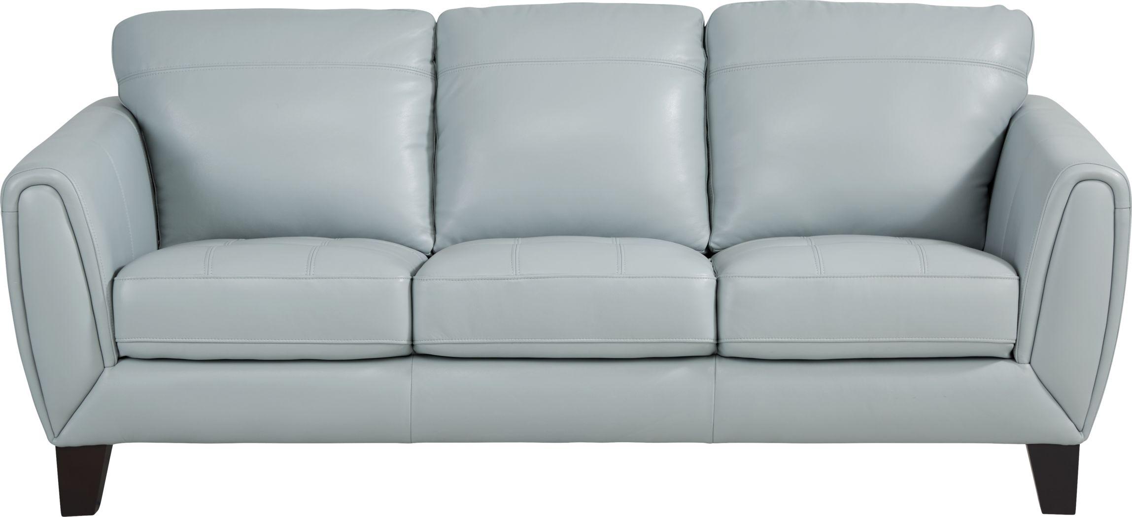 livorno lane aqua leather sofa