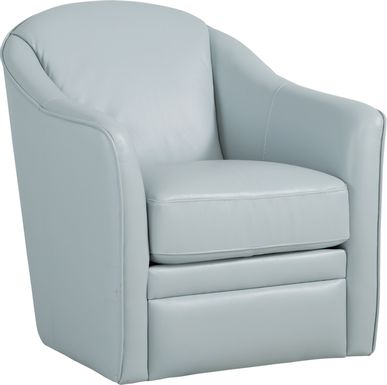 Livorno Lane Aqua Leather Swivel Chair