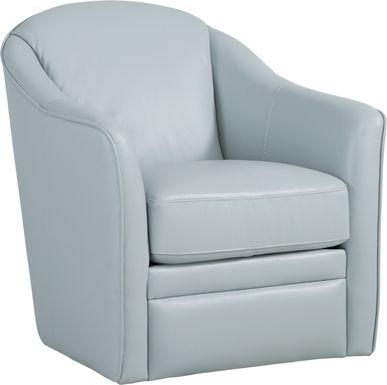Livorno Lane Aqua Leather Swivel Chair