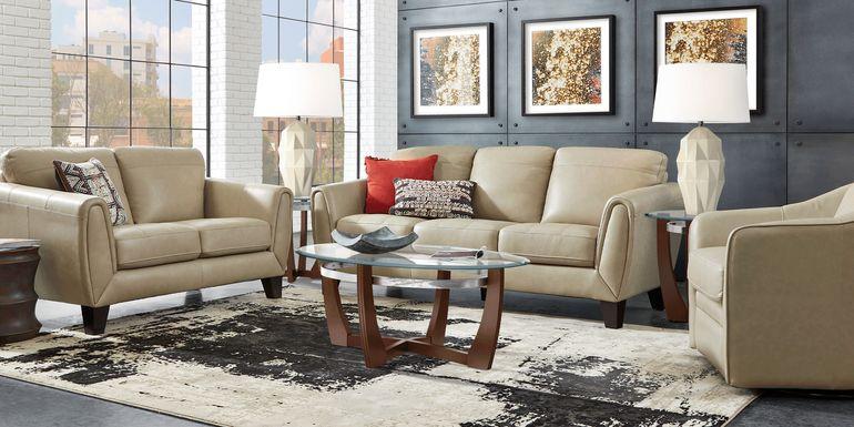 Livorno Lane Stone Leather 3 Pc Living Room