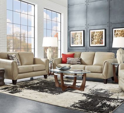 Livorno Lane Stone Leather 6 Pc Living Room