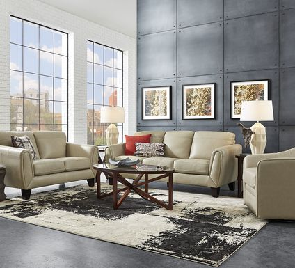 Livorno Lane Stone Leather 7 Pc Living Room