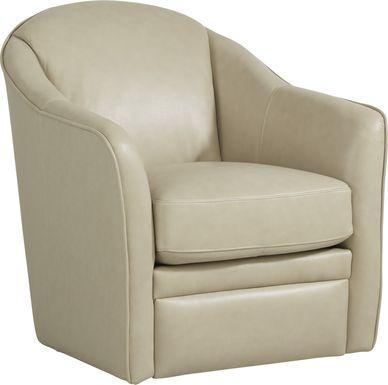 Livorno Lane Stone Leather Swivel Chair
