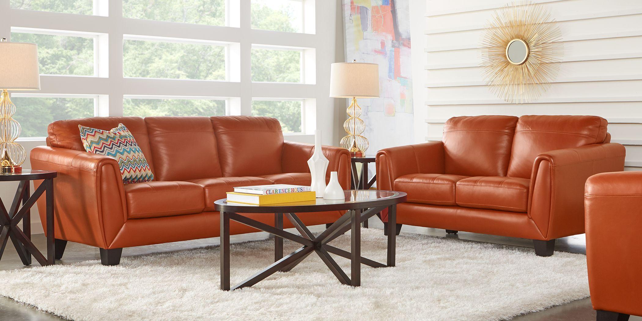 Livorno Papaya Leather 5 Pc Living Room