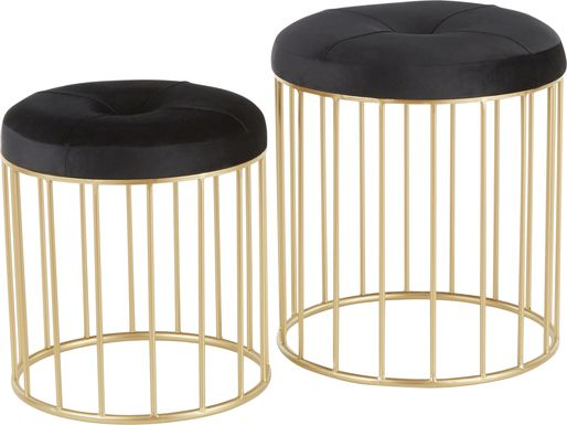 Lockerbie Black Ottoman, Set of 2
