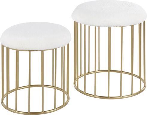 Lockerbie White Ottoman, Set of 2