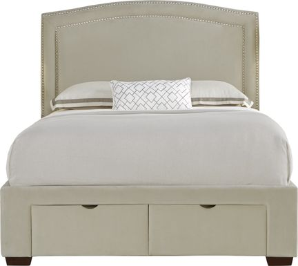 Loden Beige 3 Pc King Upholstered Bed with 2 Drawer Storage