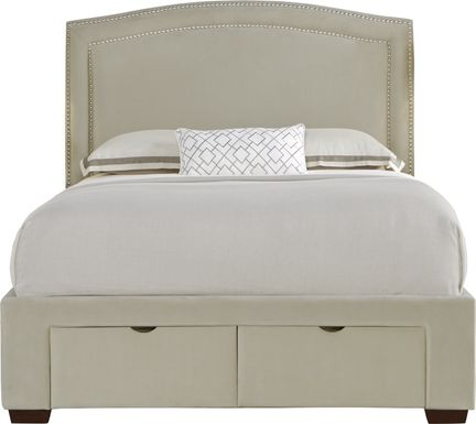 Loden Beige 3 Pc Queen Upholstered Bed with 2 Drawer Storage
