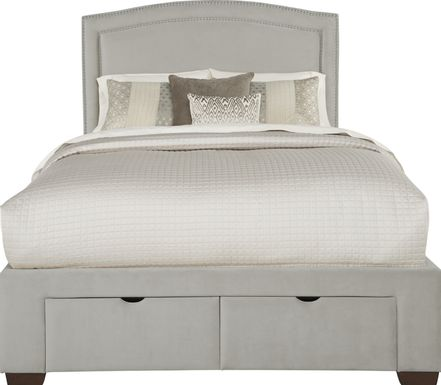Loden Gray 3 Pc King Upholstered Bed with 2 Drawer Storage