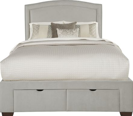 Loden Gray 3 Pc Queen Upholstered Bed with 2 Drawer Storage