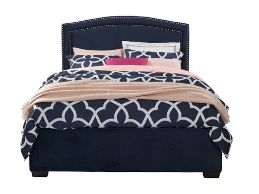 Loden Navy 3 Pc King Upholstered Bed