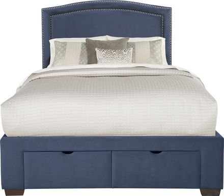 Loden Navy 3 Pc Queen Upholstered Bed with 2 Drawer Storage