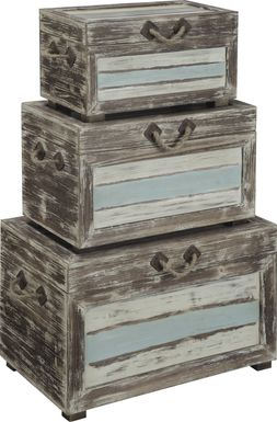 Longboat Key Gray Set of 3 Nesting Trunks