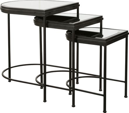 Longvue Black Nesting Table, Set of 3