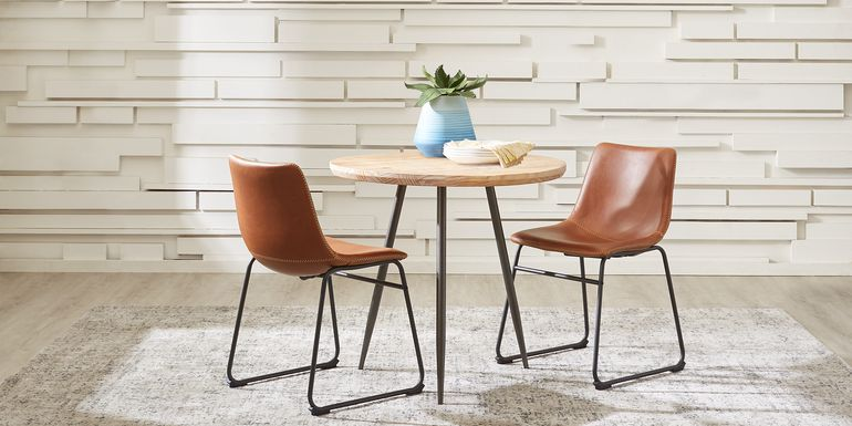 Lonia Natural 3 Pc 42 in. Round Dining Set with Brown Chairs