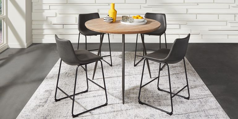 Lonia Natural 5 Pc 42 in. Round Counter Height Dining Set with Gray Stools