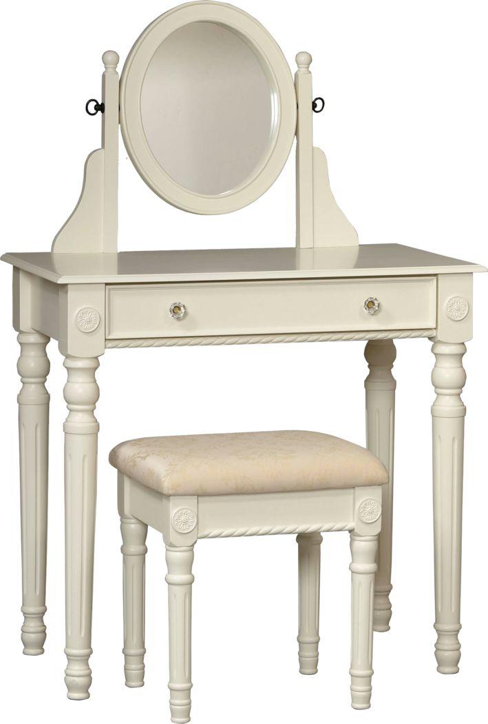 Loraine Off-White Vanity, Mirror and Stool Set