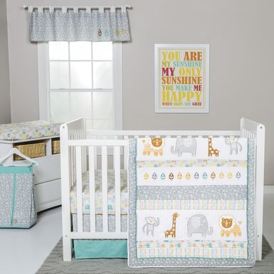 Lullaby Jungle Teal 6 Pc Baby Bedding Set