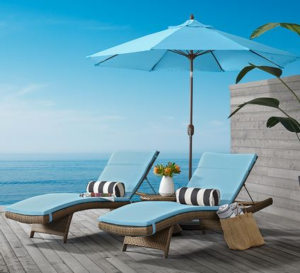 Luna Lake Brown Outdoor Chaises with Aqua Cushions, Set of 2