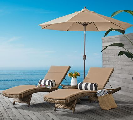 Luna Lake Brown Outdoor Chaises with Beige Cushions, Set of 2