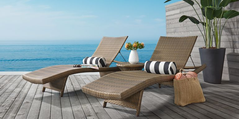 Luna Lake Brown Outdoor Chaises, Set of 2