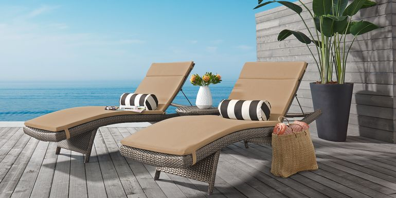 Luna Lake Gray 4 Pc Outdoor Chaise Set with Beige Cushions