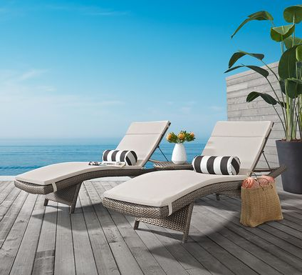 Luna Lake Gray 4 Pc Outdoor Chaise Set with Canvas Cushions