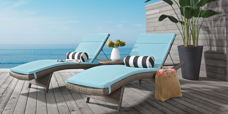Luna Lake Gray 4 Pc Outdoor Chaise Set with Mineral Cushions
