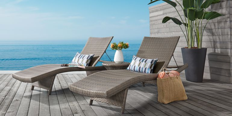 Luna Lake Gray Outdoor Chaises, Set of 2