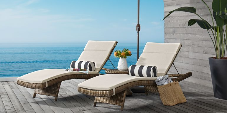 Luna Lake Brown Outdoor Chaises with Natural Cushions, Set of 2