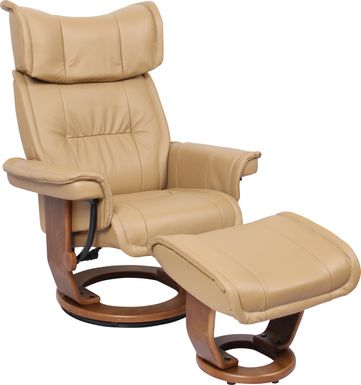 Luzon Beige Recliner and Ottoman